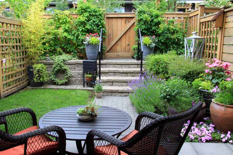 A seating arrangement in the small back garden of a townhouse.