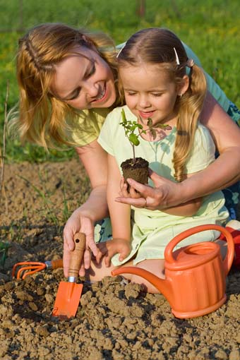 Woman and little girl growing healthy food - planting tomato seedlings