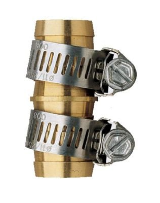 Orbit hose repair kit - couplers and two hose clamps; brass colored on isolated background