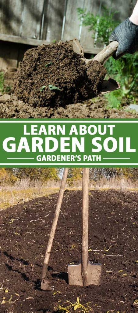 A collage of images showing different views of garden soil.