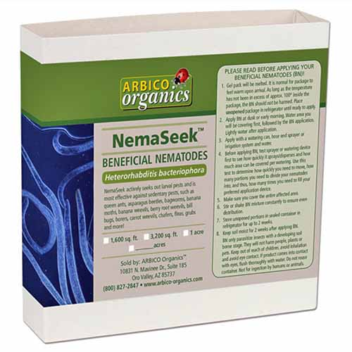 NemaSeek Hb beneficial nematode product from Arbico Organics, in white paper packaging printed with blue and green, isolated in a white background.
