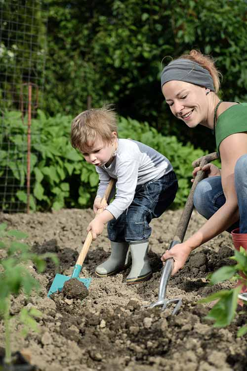 A vertical picture of a mother and child both using spades to dig up soil in the garden, with foliage and plants in the background.