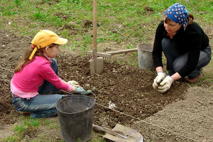 Woman and Girl Prepping Garden Bed | GardenersPath.com