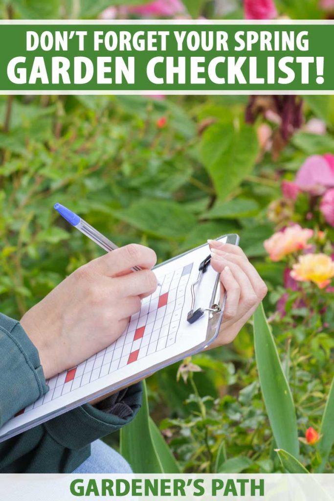 A gardener holds a checklist on a clipboard.