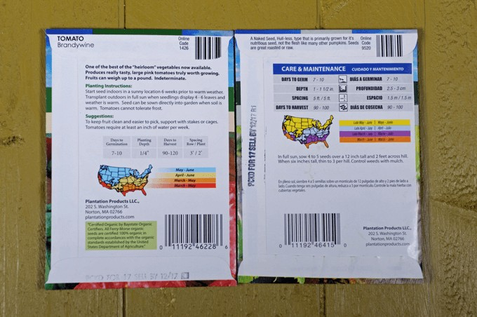 The backs of seed packets containing various information | Gardener's Path | Fooda
