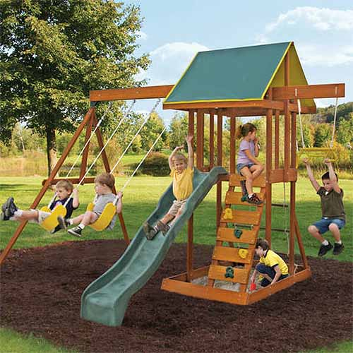 Big Backyard Wooden Play Set - The Best Backyard Playground Equipment Of 2017 Gardener's Path
