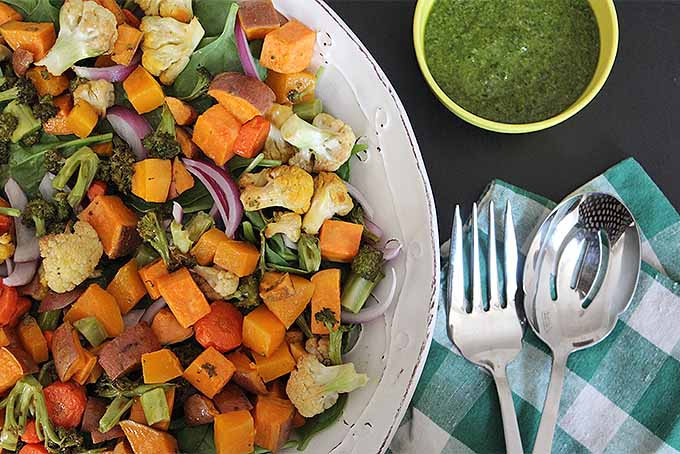Feature the flavors of fresh herbs with this Grilled Veggie Salad and Parsley Dressing recipe. | GardenersPath.com