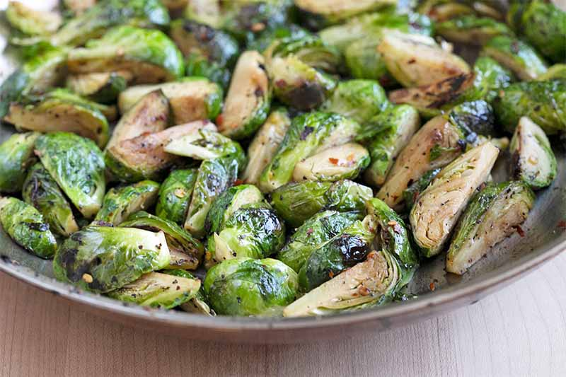 Caramelized Red Chili Brussels Sprouts.