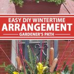 A collage of photos showing different views of a winter and holiday themed DIY outdoor flower arrangement.
