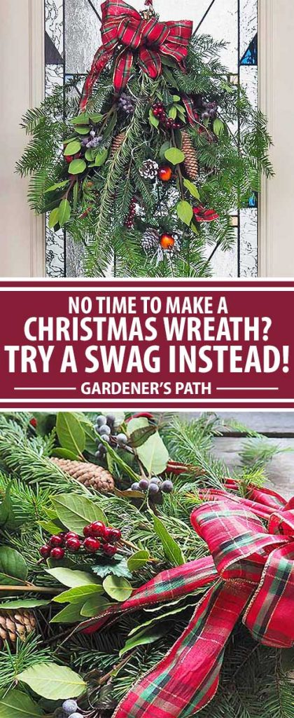 A collage of photos showing different views of a holiday swag or an alternative to the traditional Christmas wreath.