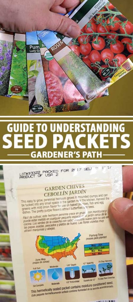 A collage of photos showing the fronts and back of various seed packets.