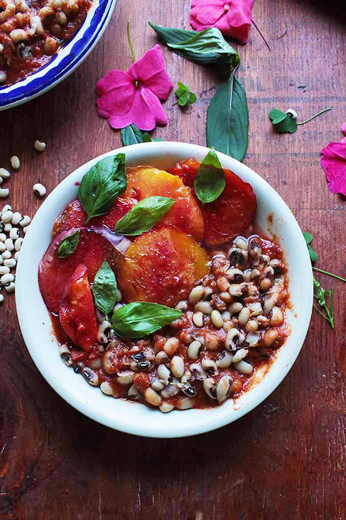 Baharat Black Eyed Peas with Broiled Peaches | GardenersPath.com