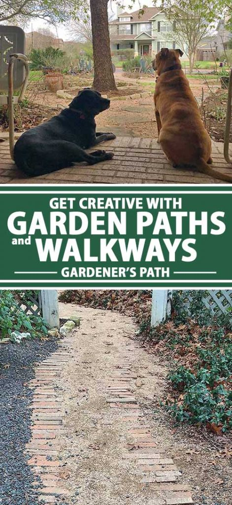 A collage of photos showing different types of garden paths and walkways.