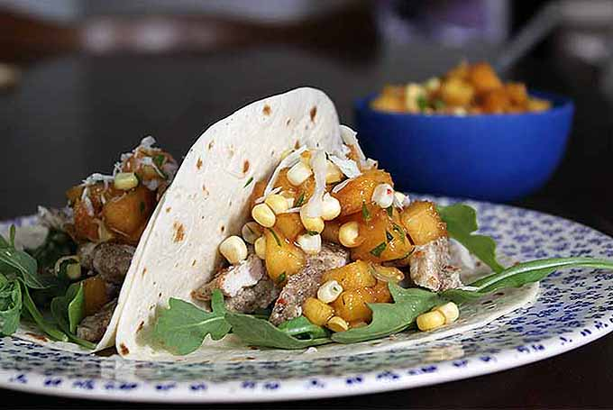Spicy Pork Tacos with Peach and Corn Salsa | GardenersPath.com