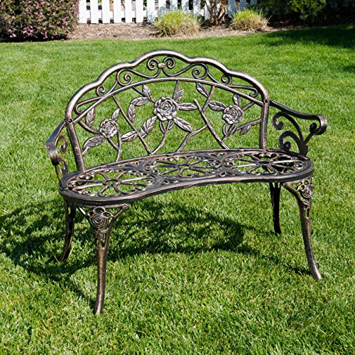 Garden Bench Folding Bronze Ornate  Metal Design Vintage Style Cushion Option