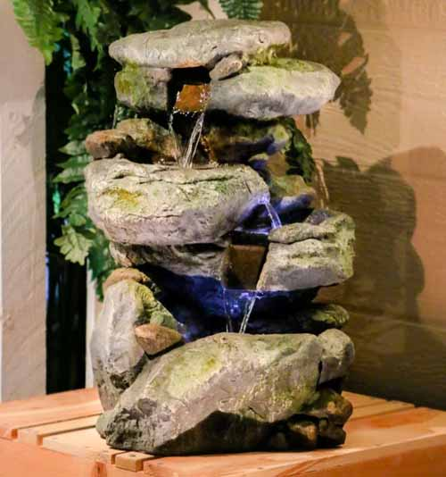 Fiberglass Rock Waterfall Fountain with LED Light