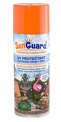 An orange can of Sun Guard UV protectant spray, isolated on a white background.
