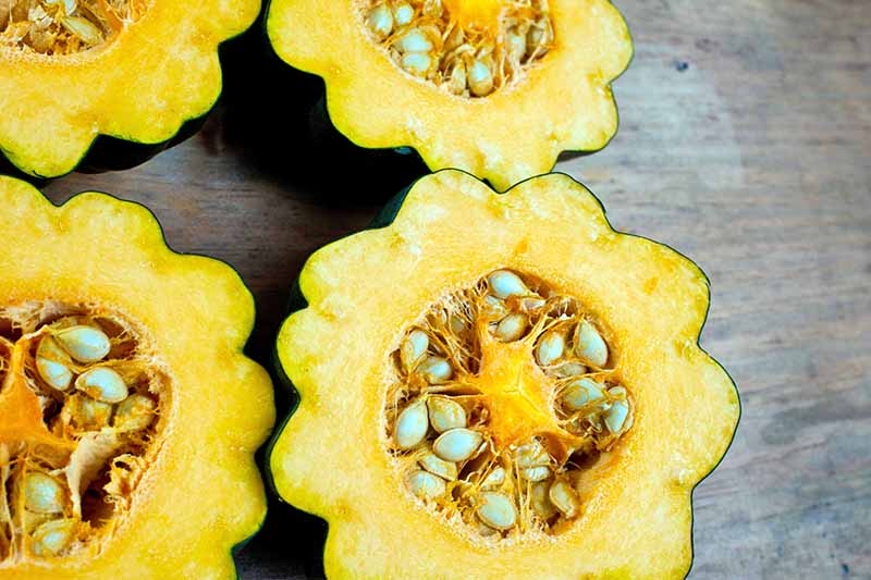Halved winter squash with dark green peels and a scalloped edge, yellow flesh, and large seeds, on a weathered wood background.