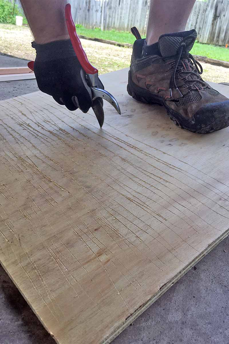 Closeup of a man's foot in brown hiking boots with a gloved hand using the sharp pointed end of a pair of pruners to score lines into a piece of plywood, on a cement surface with a green lawn and brown fence in the background.