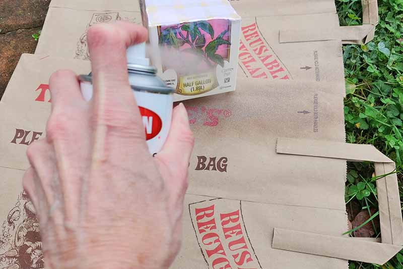 A hand holding a can of spray paint sprays a cardboard carton on top of a surface protected with brown paper shopping bags, on top of green clover and grass.