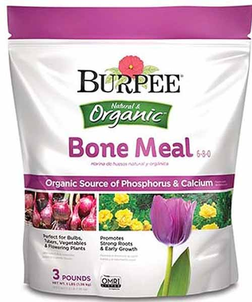 A white and pink plastic bag of Burpee bone meal fertilizer, isolated on a white background.
