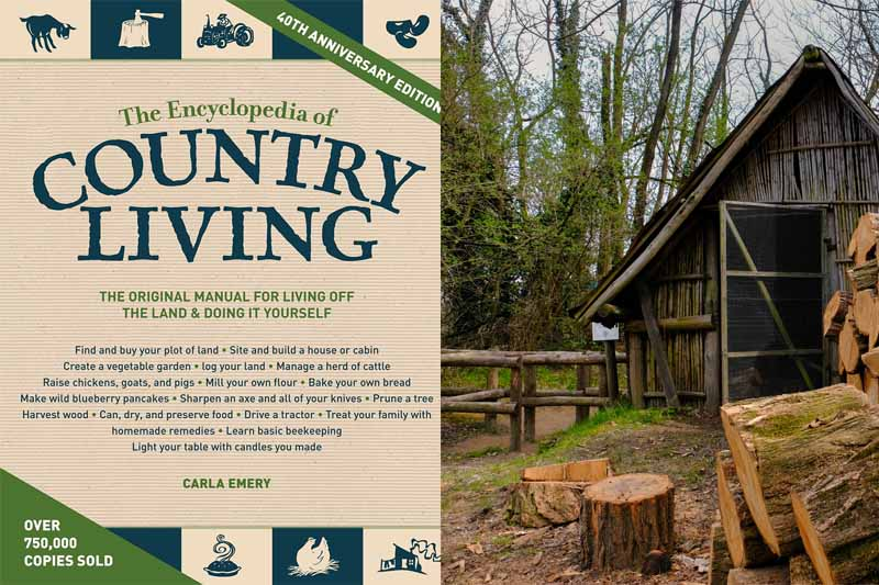 A collage of photos showing the book cover of the Encyclopedia of Country Living and scenes of country living.
