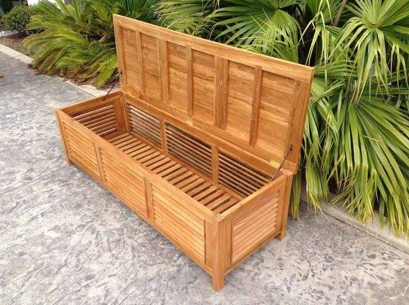 Oblique View Of A Wooden Deck Box In Tropical Patio Setting