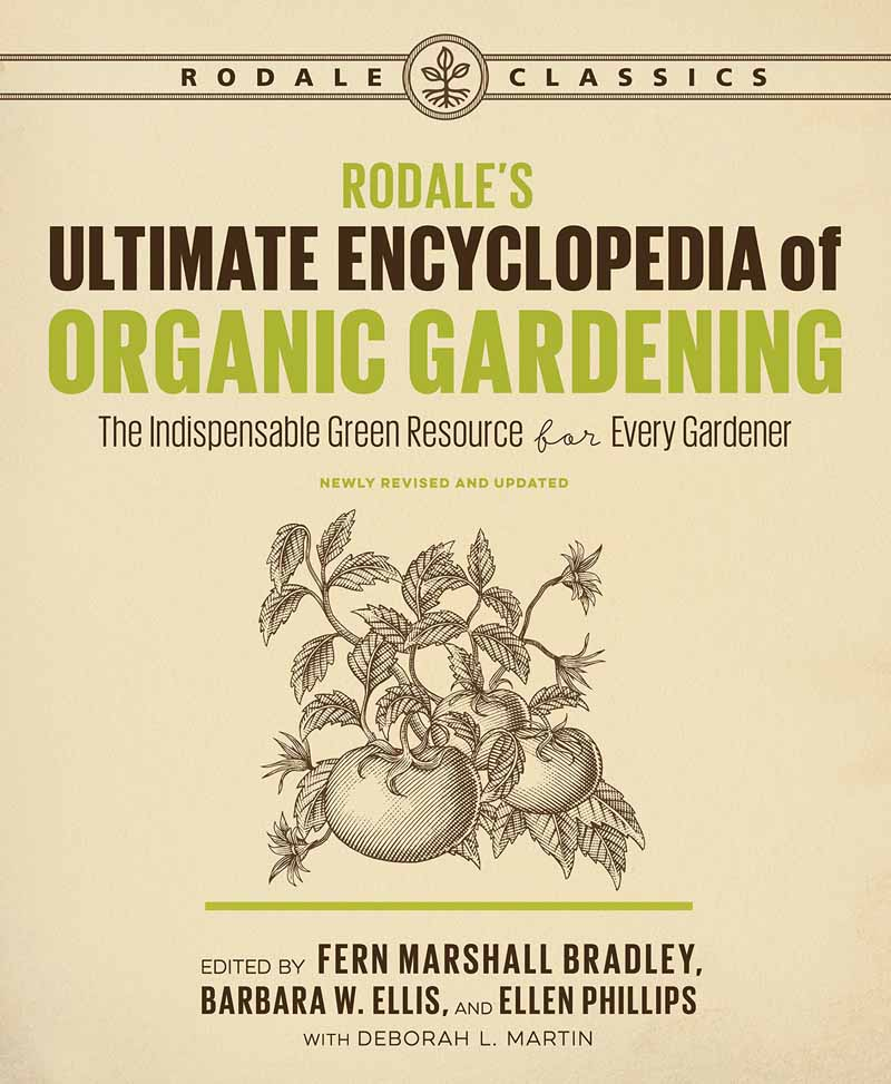 The book cover for Rodale's Ultimate Encyclopedia of Organic Gardening.