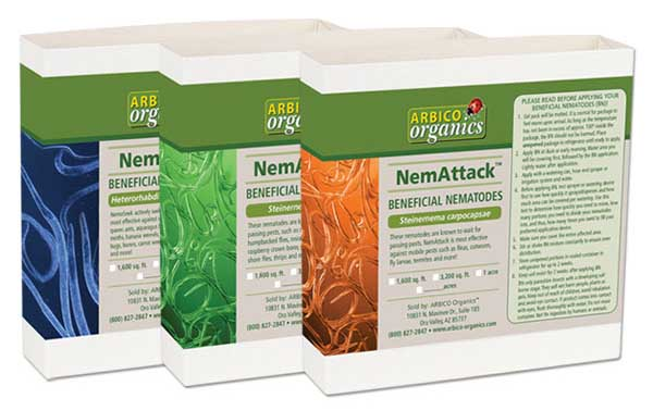 Boxes of Arbico Triple-Threat nematode treatment on a white isolated background.