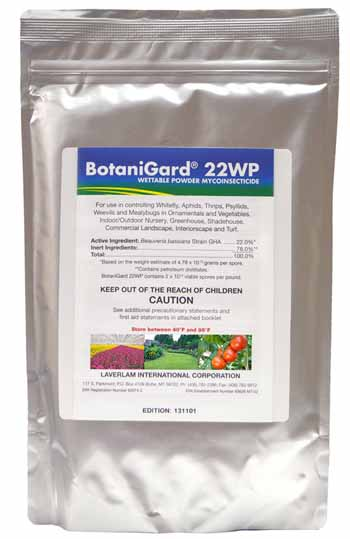 BotaniGard 22WP Biological Insecticide 1lb bag on a white, isolated background.