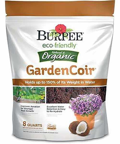 Burpee Organic Garden Coir, 8-Quart Bag on a white, isolated background.