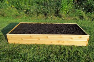 Infinite Cedar Raised Garden Bed 3X6 ft in a residential backyard setting.