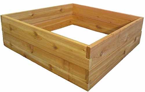 3x3-foot Infinite Cedar Raised Garden Bed oblique view on a white, isolated background.