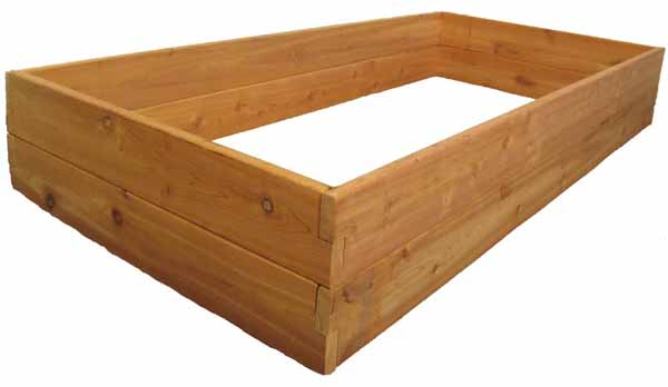 Infinite Cedar Raised Garden Bed 3x6-foot oblique view on a white, isolated background.