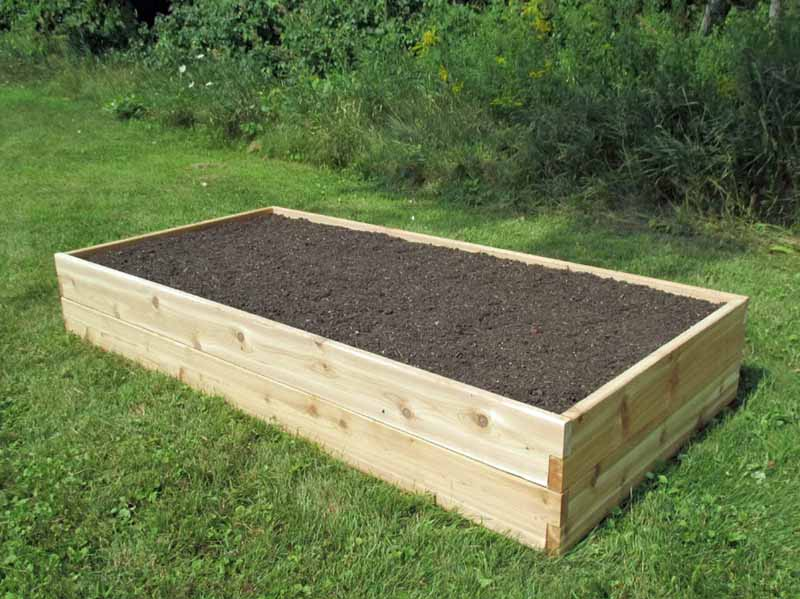 Oblique view of the 3x6-foot Infinite Cedar Raised Garden Bed in an urban, grassy backyard.
