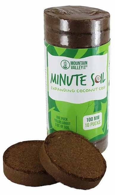 Mountain Valley Minute Soil - Compressed Grow Medium Disks on a white, isolated background.