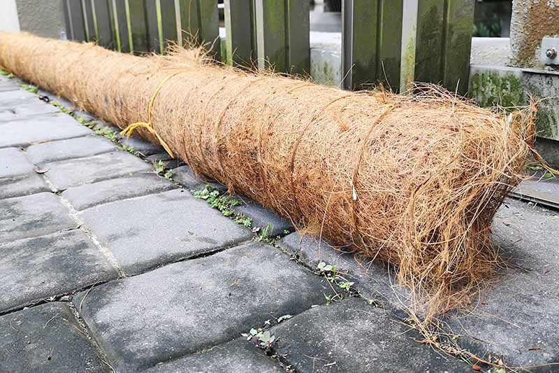 A roll of erosion control blanket which is made with coconut coir.