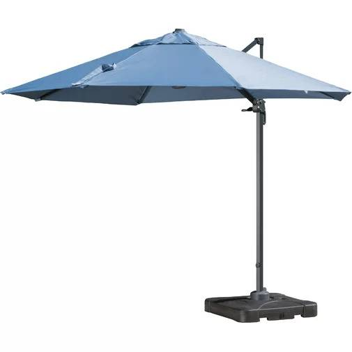 Bellana Cantilever Umbrella in blue on a white, isolated background.