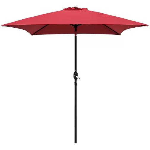 Bradford Patio 6.5' Square Market Umbrella in Red on a white, isolated background.