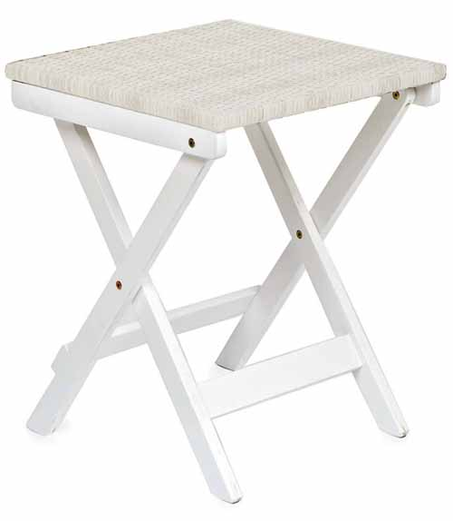 Claytor Folding Eucalyptus Outdoor Side Table in Ivory on a white, isolated background.