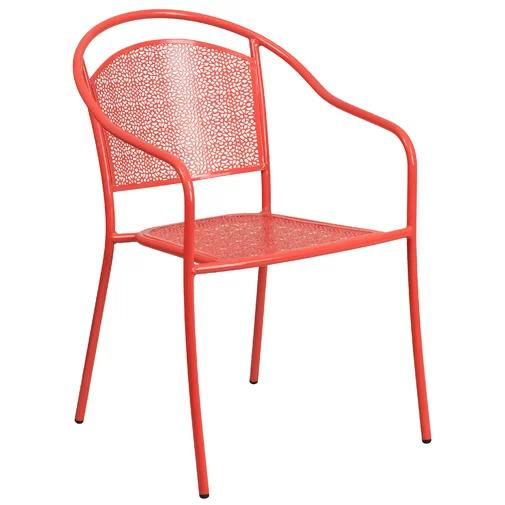Minna Stacking Patio Dining Chair in red on a white, isolated background.