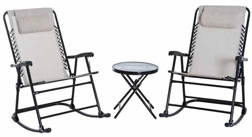 Shultz Outdoor 3 Piece Conversation Set in cream white.