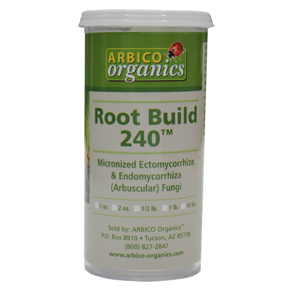 A contain of ARBICO Organics™ Root Build 240 on a white, isolated background.