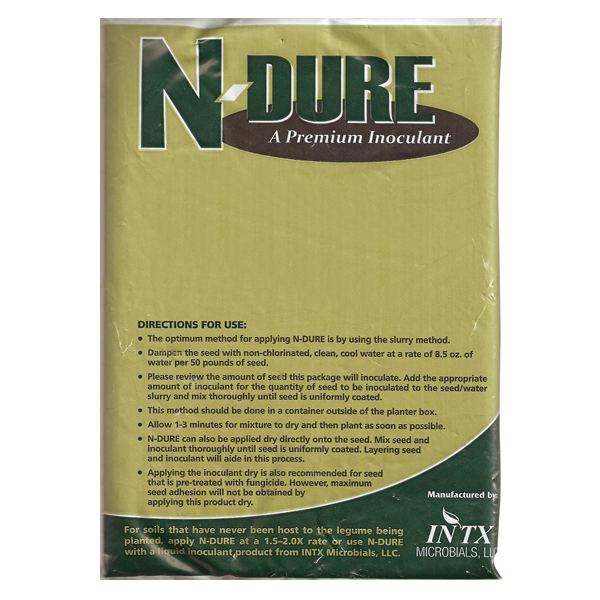 A package of NDure Alfalfa and Cover Inoculant