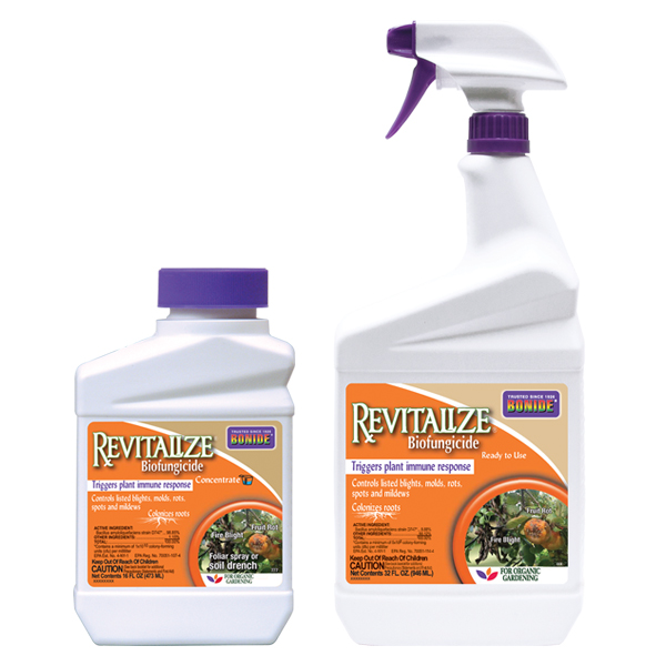 Two different sized plastic bottle of BONIDE® Revitalize® Biofungicide on a white, isolated background.