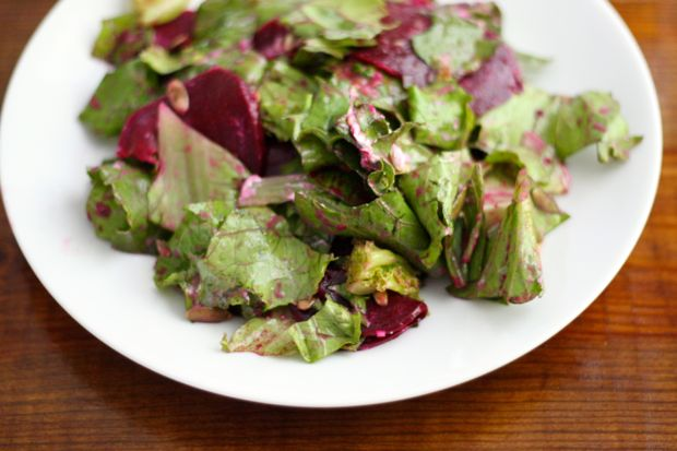 Beet and Lettuce Salad with Green Onion Vinaigrette, close up.