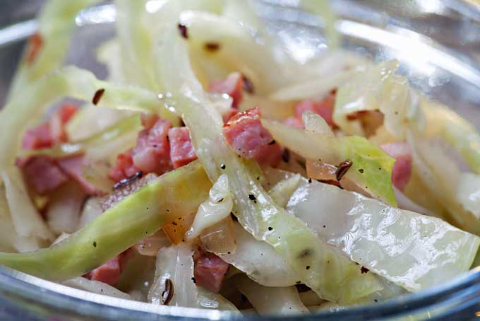 Bavarian Cabbage Salad with Bacon, close up.