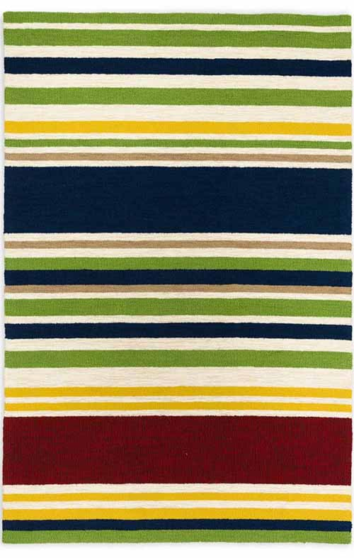 Top down view of the Indoor Outdoor Rainbow Stripe Hooked Rug.