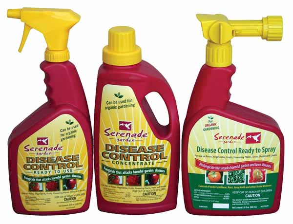 Serenade® Garden Disease Control products (three different bottles) on a white, isolated background.