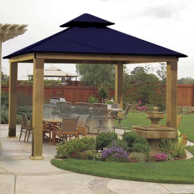 ACACIA 12 Ft. W x 12 Ft. D Aluminum Patio Gazebo with a blue canopy top.
